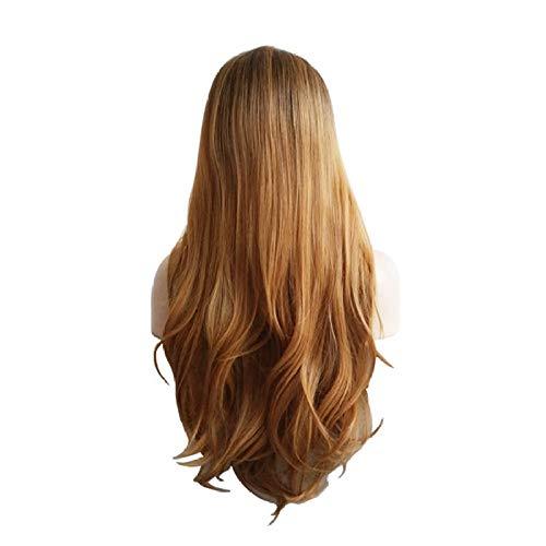 PWSTRAKA Perruque Femme Couleur Mixte Perruque Longue Perruque Synthétique Femme Motif de Vague Motif Mesdames Brun Cheveux Longs