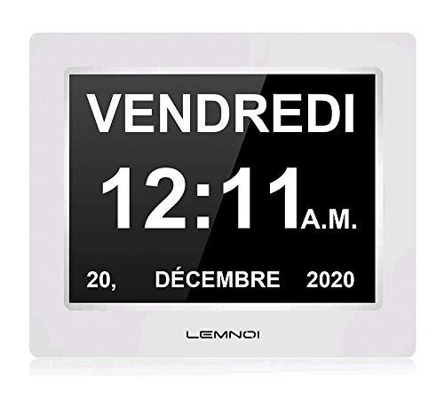 Lemnoi - Reloj digital con calendario, pantalla LCD de 7,5 pulgadas, con fecha y hora, reloj no abreviado automático, 8 idiomas HD de pantalla para alzheimer para personas mayores y niños