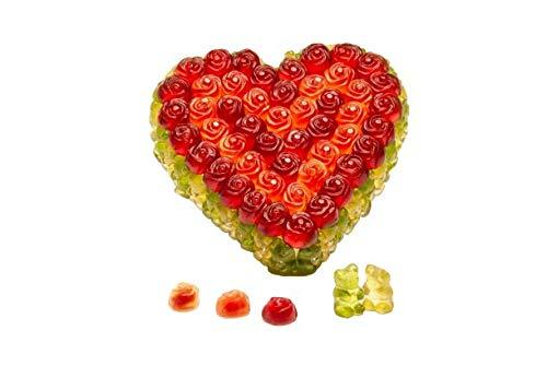 Gummibärchenzauber Torte Herzform   Gummibärchenherz aus Waldmeister und rotem Fruchtgummi   Gummibaeren Torte als Geschenk   Gummibaerchentorte   410g   Durchmesser 14 cm, Höhe 4 cm