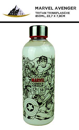 hi-lo Marvel Avengers Trinkflasche Sport-Flasche Kinder Erwachsene Camping Kindergarten Transparent 22cm groß 850ml