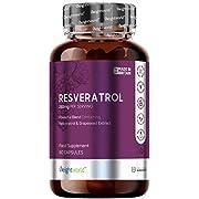 Resveratrolo con Estratto di Vino Rosso - Formula Extra Forte 250mg - Integratore Antiossidante Naturale in Capsule - Antiossidante Per La Pelle - Bellezza Pelle