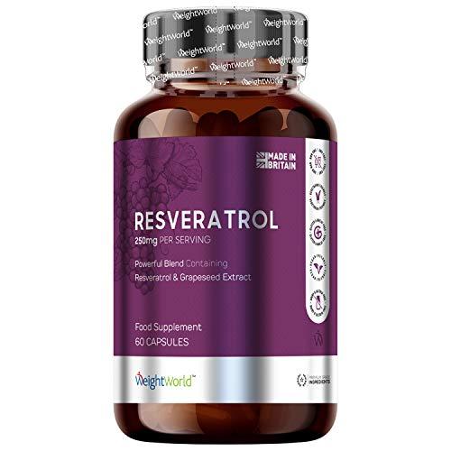 Resvératrol Pure 98% Haute Dose - 250 mg 100% Naturel – 60 gélules Vegan WeightWorld | Resveratrol avec de la Peau de Raisin Rouge (Polyphénols de vin rouge) – Sans Gluten ni Lactose ni OGM