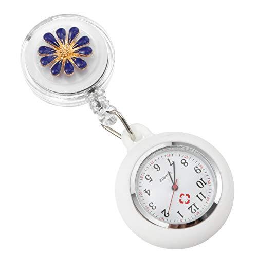 UKCOCO Enfermera Reloj de Bolsillo Clip-On Colgante Solapa Enfermería Reloj Reloj Fob Reloj de Bolsillo para Mujer Azul