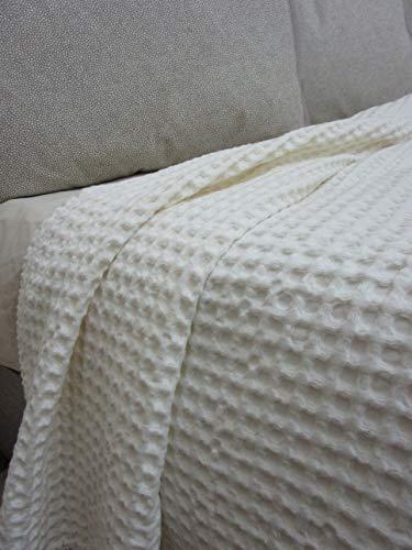 PAGO POCO Novita!!!! Tagesdecke für Frühling und Sommer, für Doppelbett, 100 % Baumwolle, Waffelmuster, Neuheit 2020!! ! 160 x 190 cm beige