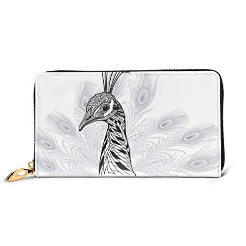 Women's Long Leather Card Holder Purse Zipper Buckle Elegant Clutch Wallet, Sketch Style Bird Monochrome Peafowl Feathers Tattoo Design Animal Head Portrait,Sleek and Slim Travel Purse