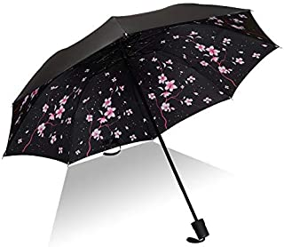 HKXR Umbrella Men Rain Woman Windproof Large Paraguas 3D Flower Print Sunny Anti-Sun 3 Folding Umbrella Outdoor Parapluie (Color : As picture7)