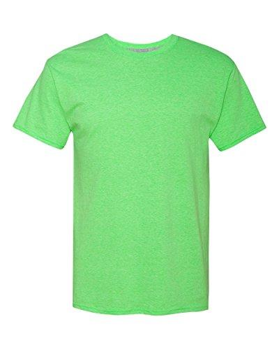 Hanes Men's X-Temp Crewneck Short-Sleeve T-Shirt (Large), Neon Lime Heather