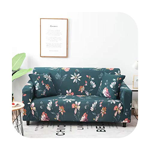 Sofa covers Pastoral Leaves Slipcover Stretch Elastic Spandex Loveseat L Shape Sectional Stretch Furniture Protected-White-2 Seat Fit 145-185Cm