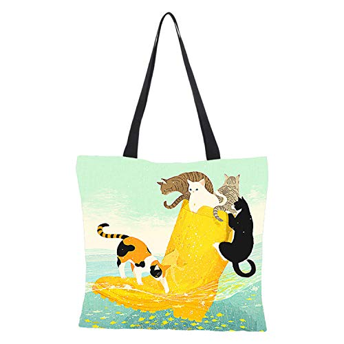 Dlovey Shopping Bag, Cat Printing Reusable Canvas Tote Bag, Washable, Eco-Friendly, Lightweight, Tote, Grocery,B