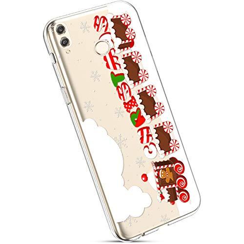 Ysimee Coque Compatible avec Huawei Honor 8C Transparent Étui avec Motif Noël Christmas Housse de Protection en Silicone Souple Antichoc Ultra Mince Léger Crystal Clear Gel Téléphone Couverture,Train