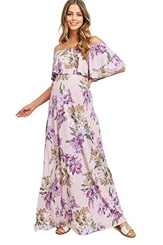 Maternity Dress Off Shoulder Maxi Pregnant Women Baby Shower Photoshoot (Lavender/Purple Flower, Medium)