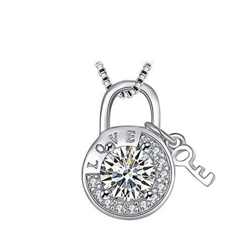 LFNSTXT Runde Zirkonia geätzt Liebe Vorhängeschloss Schlüssel Anhänger Halskette ohne Kette 925 Sterling Silber Anhänger Mode