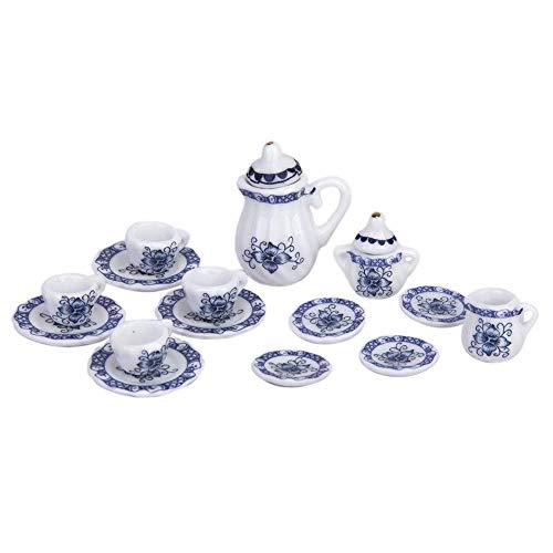 Romote 15 Stück Mini-Tee-Set Spielzeug Puppenhaus Tee-Set Teekanne Tassen Teller Blau Und Weiß Porzellan