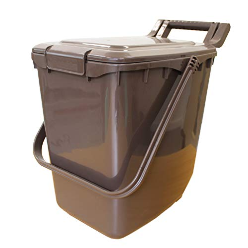 All-Green Large Compost Caddy - Brown - for Food Waste Recycling (23 Litre) - 23L Plastic Composting Kerbside Bin (Clip Lid)