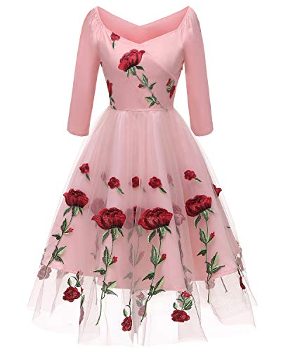 Aofur Women's Vintage Style Rose Embroidered 1950s Rockabilly Evening Party Lace Swing Tea Dress A Line Dresses (Small, Pink)