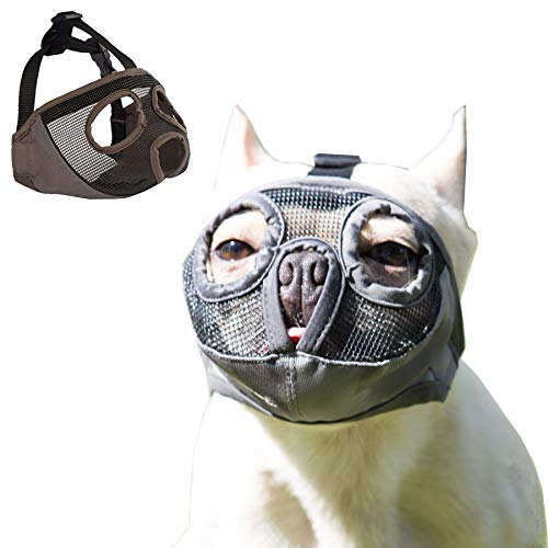 JWPC Short Snout Dog Muzzle Adjustable Bulldog Muzzle Breathable Mesh Biting Chewing Barking Training Dog mask for Small Medium Large Dogs,Grey M(Eye)