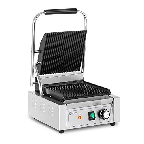 Royal Catering Piastra per Panini Toast e Bistecchiera Elettrica (Acciaio Inossidabile, Ghisa, 50-300 °C, 1800 W, Rigata)