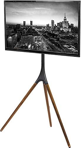 TONG Soporte de TV universal de madera maciza exhibición de arte giratoria móvil suspensión Soporte