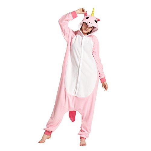 Hstyle Adulte Unisexe Onesies Kigurumi Pyjamas Animal Costumes de Cosplay de Bande Dessin? V?ements de Nuit Rose Licorne XL