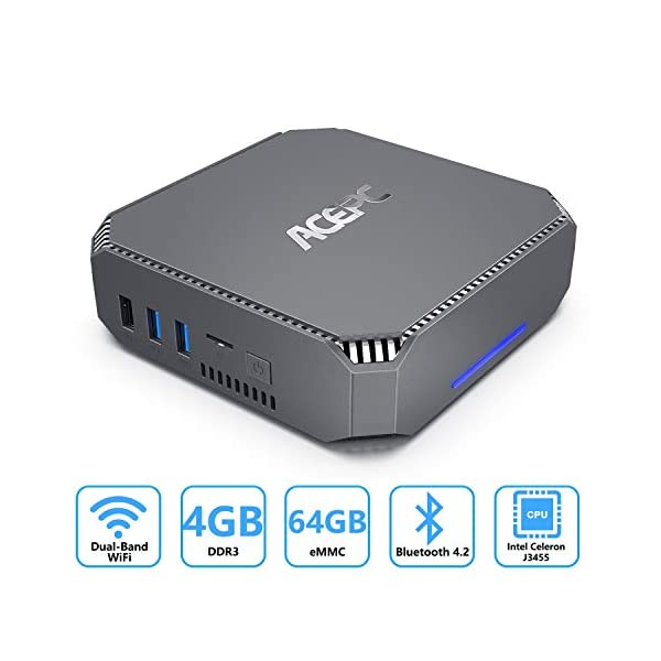 AK2 Mini PC Intel Celeron J3455 Windows 10 Pro Mini Computer 4K HD,Gigabit Ethernet