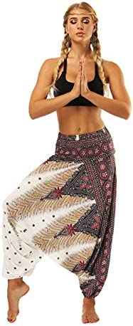 Casual Drop Lounge Pants for Women Elastic High Waist Loose Fit Baggy Gypsy Hippie Boho Yoga product image