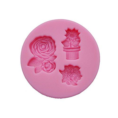 DeColorDulce Fleurs avec Pot Moule 3D, Silicone, Rose, 16 x 10 x 3 cm