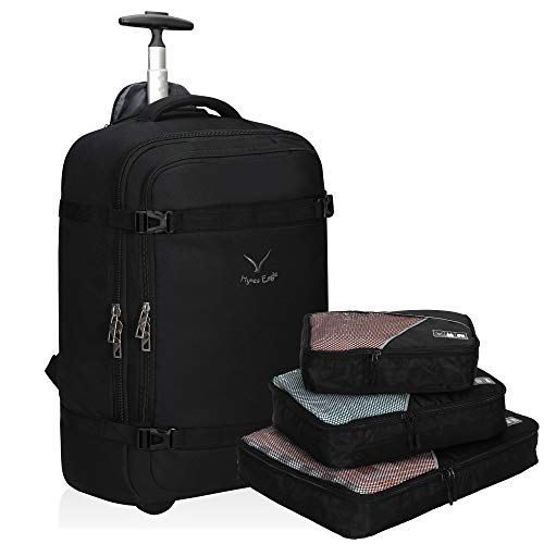 Hynes Eagle Carry on Rolling Backpack 42L Flight Approved Travel Wheeled Luggage Weekender Bag for 17 inches Black with Black Packing Cubes