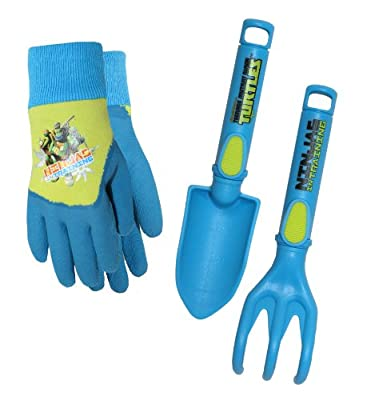 TM14P04-EA-AZ-6 Teenage Mutant Ninja Turtles (TMNT) Kids Gloves with Trowel and Cultivator Combo Pack, TM14P04, Size: Kids from Midwest Gloves & Gear