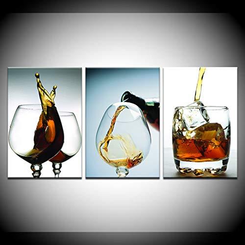 RHBNVR canvas schilderij 3 stuks modern HD Modular Artwork afdrukken wijnglas canvas muurkunst schilderij Home Kitchen Dinning Poster