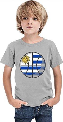 Younique Camiseta de baloncesto Uruguay para niños, gris, 12 Años