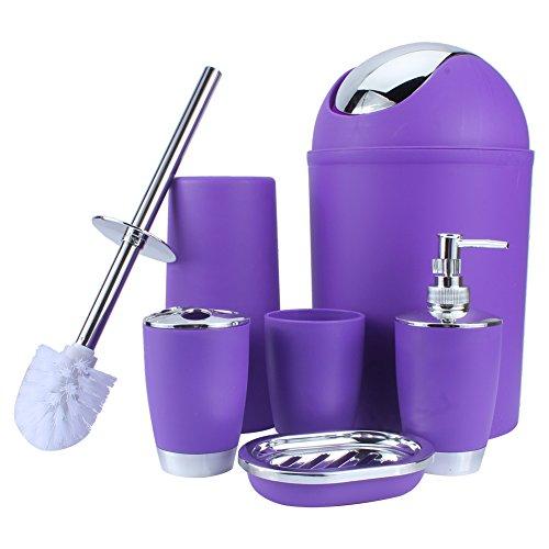 Yosoo 6-Stück Luxuriös Badezimmer Set (aus Plastik) Bad Accessoire Set Lotion-Flaschen, Zahnbürstenhalter, Zahn-Becher, Seifenschale, Toilet Bürste, Mülleimer (Lila)