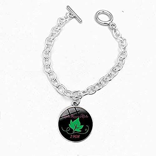 ZHIFUBA Co.,Ltd Collar Logo cúpula de Cristal Pulseras encantos Cadenas de Plata brazaletes Mujeres Hombres joyería de Moda Regalo de 19 cm de Largo