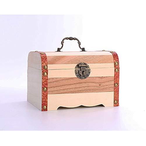 VHGYU Piggy Bank spaarpot hout creatieve opbergdoos creatieve spaarvarken kinderen grote houten houten blokkering voor jongens en meisjes cadeaus, desktopdecoratie