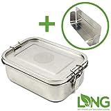 LNG Edelstahl Brotdose Premium | Umweltfreundliche Lunchbox ohne Plastik & BPA | auslaufsicher & dicht | Perfekte Größe mit 800ml und Trennsteg | Hochwertige Brotdose für Kinder und Erwachsene