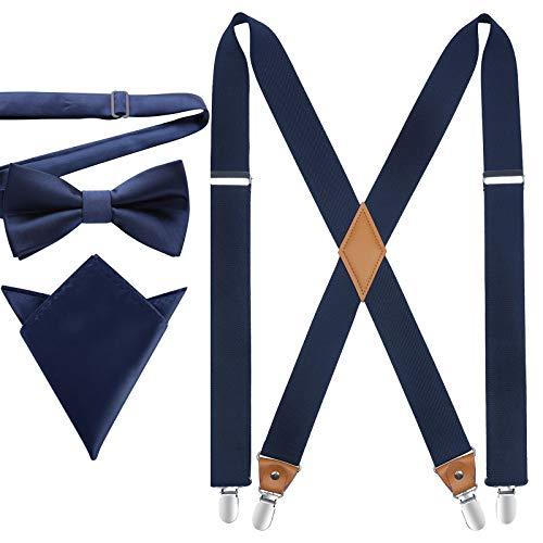 HISDERN Hosenträger für Herren X Form mit sehr Starken 4 Metall Clip Elastisch und Längenverstellbar Hosenträger und Fliege mit Einsteckuch Set