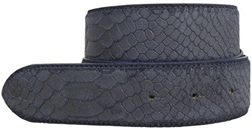 Gürtel mit Pythonprägung ohne Schnalle 4,0 cm | Leder-Gürtel für Damen Herren 40mm Schlangen-Optik | Schlangen-Muster | Marine 100cm