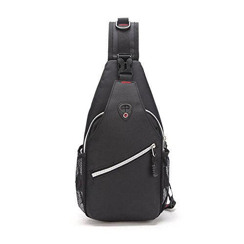 Sac de Poitrine Oxford voyage escalade téléphone portable ipad portefeuille grande capacité sac de la Messenger bag Sling bag , Black
