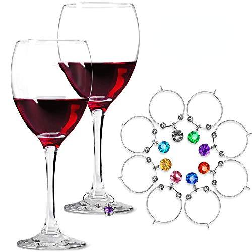 Deer Platz 8 Stück Weinglas Charm Weinglas Ringe Anhänger, Weinglas Charms Weinglas Marker, Weinglasmarker, für Becher, Champagner Flöten Cocktails Martinis