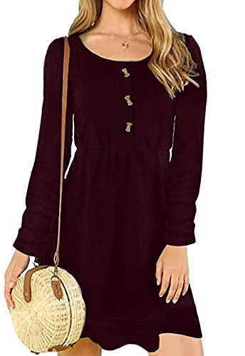 JayscreateEU Damen Kleid Herbst Winter Elegantes Strickkleid Tunika Kleid Button up Swing Plissee Kleid Knielangen Rundhals Langarm Kurzarm Kleid...