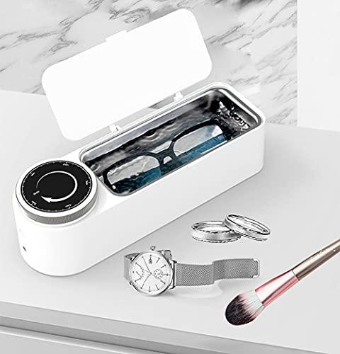 ZZX Limpiador ultrasónico de 650 ml Limpiador de Joyas de 48.000 Hz con Canasta de Limpieza, Tanque de Acero Inoxidable y sincronización de rotación para Gafas, Relojes y más (Color : White)