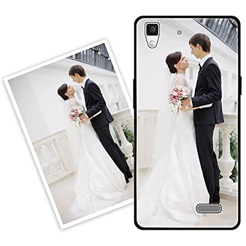 Sunrive Personalisierte Hülle kompatibel mit Oppo R7 Handyhülle Benutzerdefiniert Gehärtetes Glas Weicher Etui mit Eigenem Foto Bild Text Persönliche + Bildschirmschutzfolie