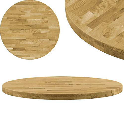 vidaXL Roble Tablero Mesa Redondo Madera 44 mm 500 mm Superficie Tapa Circular