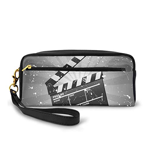Pencil Case Pen Bag Pouch Stationary,Clapper Board On Retro Backdrop With Grunge Effect Director Cut Scene,Small Makeup Bag Coin Purse