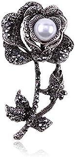 CBCJU Broche de Diamantes de Perlas de Plata Retro de Alto Grado con Forma de Rosa Pin de Fiesta de Damas 6.0 * 3.4cm