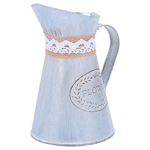 BESTonZON Metall Blumenvase Eisen Shabby Chic Krug Vase Vintage Verzinkte Gießmilch Kann Krug Vasen Rustikale Blumeimer Behälterhalter Bauernhaus Französisch Eimer für Zuhause 2Pcs