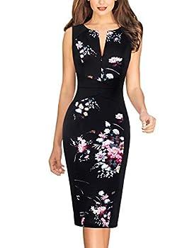 Vfshow Womens Black Floral Print Cocktail Party Elegant Slim Zipper Up Work Business Office Bodycon Pencil Sheath Dress 5366 BLK M