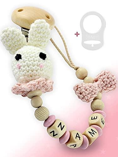Cadena para chupete con nombre para niñas, color rosa, madera auténtica, conejo ganchillo, adaptador de anillo de silicona, certificado DIN EN 12586, estrella mágica