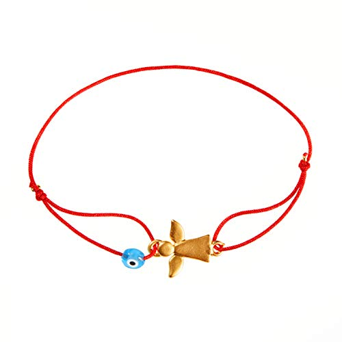 Naz Collection Evil Eye Bracelet Red String Guardian Angel Gold Plated Jewelry Kabbalah Protection Handmade Adjustable Bracelet for Women Men Girls Boys Baby