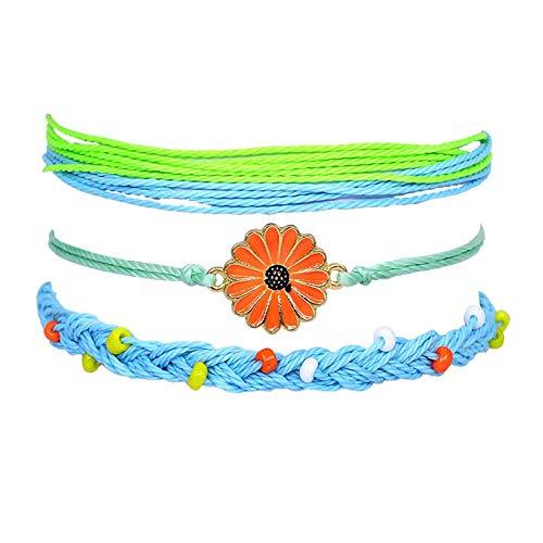 ShSnnwrl Estilo clásico Accesorios De Crisantemo Cuentas Ajustable Multicapa Cuerda Pulsera Conjunto para Mujeres Niñas Joyería Regalos Ea6