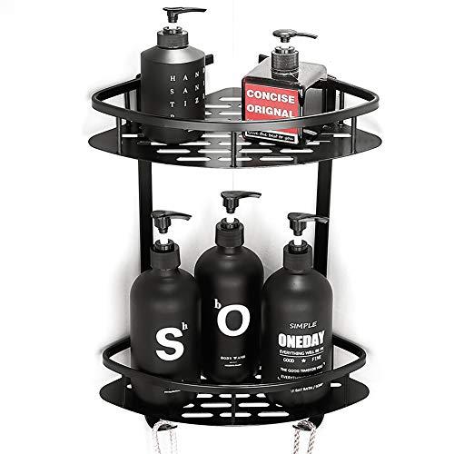Yeegout Estantes de esquina de baño adhesivos con ganchos Aluminio Sin perforación Ducha Caddy Almacenamiento Cesta de cocina (Negro)